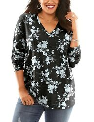Women#x27;s PLUS SIZE 34 36 Fits Catherines 4X COTTON IVORY Floral Shirt Tunic Top $15.95