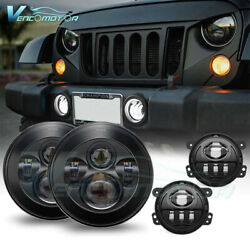 Fit For Jeep Wrangler JK 7 inch Round LED Headlight 4 1 2quot; Fog Light Lamp Sets $71.99