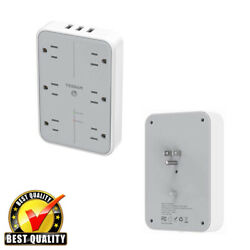 Surge Protector Multi Plug Wall Outlets With 6 AC Outlets3 USB Charging Station $20.97