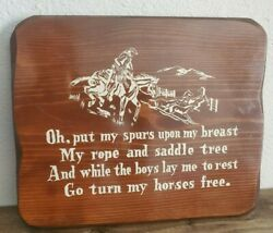 Vintage Wood Sign Plaque Cowboy Prayer Western Rodeo Southwestern Art Rustic A20 $20.00