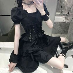 Lady Japanese Lace Up Ruffle Lolita Gothic Dress Retro Puff Sleeve Girls Cospla