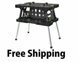 Keter Folding Work Table Workbench Sawhorse Portable w Clamps 1000 Lb. Capacity $83.20