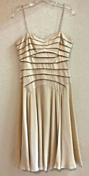 Chetta B taupe 100% silk fit 'n flare cocktail special occasion dress • size 4 $19.95