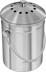 Stainless Steel 1.3 Gallon Kitchen Countertop Compost Bin Bucket Pail with Lid $57.90