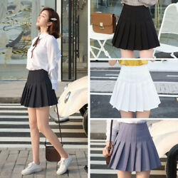 Womens Girls High Waisted Pleated Skater Tennis Uniform Skirt with Lining Shorts $12.98