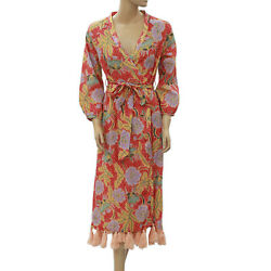 Rhode Resort Lena Wrap Midi Dress Tassel Floral Printed Cotton Voile L Nw 205421 $259.94