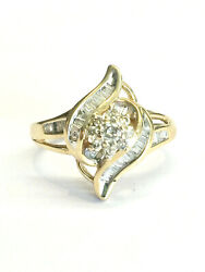 Woman#x27;s 10K Gold Swirl Round Baguette Apx .35 CTW Diamond Ring Size 7 3.2 Grams $199.95