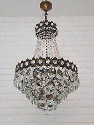 Antique Vintage Brass amp; Crystals French Chandelier Lighting Ceiling Lamp Light GBP 285.00