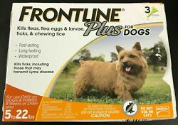 Frontline Plus for DOGS 5 22lbs Flea and Tick Control Treatment 3 Doses Supply $19.00