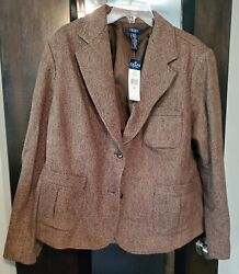 Chaps Womens Suit Jacket Brown Wool Blazer Size 22W NEW with tags $19.99