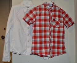 Lot of 2 Abercrombie Kids Boys Dress Shirts Size Large 14 Exc. Cond. $15.00