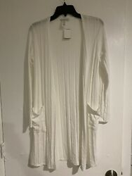 Acemi White Long Sleeve Kimono Small With Pockets $15.99