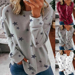 Women#x27;s Casual Long Sleeve Star Printed T Shirt Blouse Loose Pullover Tunic Tops $14.49