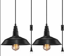 2 Pack Plug In Hanging Lamps Pendant Ceiling Light Shade Pendant Light Fixture #x27; $50.00