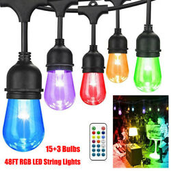 48FT RGB LED String Lights Color Changing with153 Bulbs Hanging Outdoor Remote $52.96