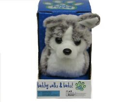 2 WALKING BARKING TOY MOVING GREY COLOR HUSKY DOG battery operated NEW fun pet $21.99