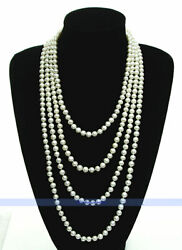LONG 95quot; 7mm Genuine Freshwater White Pearl Necklace $29.99