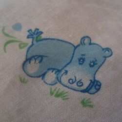 50cm x 89cm Blue White Hippos Novelty Kids Vintage Cotton Sewing Fabric 1970s AU $13.00
