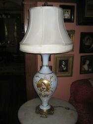 Antique lamp Old Paris Porcelain Lamp Hand Painted Gilded Background 34quot; Tall $149.99
