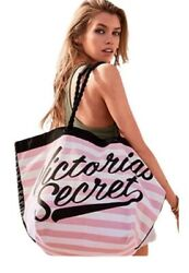 Victorias Secret Limited Edition Beach Large Tote Weekender Bag Pink White $27.98