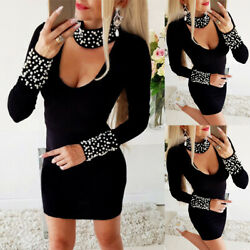 Women Sexy High Neck Beading Mini Dress Ladies Party Long Sleeve Bodycon Dresses $23.46