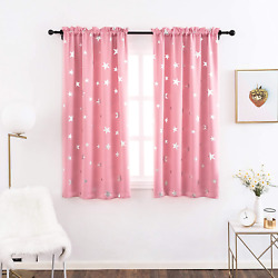 Blackout Curtains for Girls Bedroom with Cute Silver Star 38 x 54 Inches Pink $29.81
