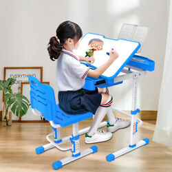 Kids Desk and Chair Set Height Adjustable School Children Study Table Blue $68.99