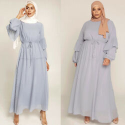 Fashion Women Chiffon Long Sleeve Maxi Dress Dubai Party Abaya Kaftan Robe Gown $38.12