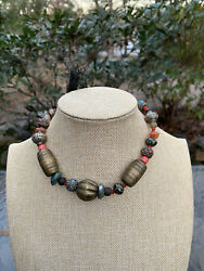 """Vintage Brass Glass Bead Amber And Stone Necklace 10"""" $35.00"""