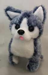 WALKING BARKING TOY MOVING BLUE COLOR HUSKY DOG battery operated NEW fun pet $14.95