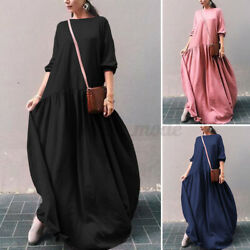 US Womens Long Sleeve Loose Pleated Dress Party Holiday Maxi Dresses Shirt Dress $15.63