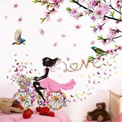 Wall Stickers Tree Branch Flowers Cartoon Girl Decals Living Room House Decor $32.96