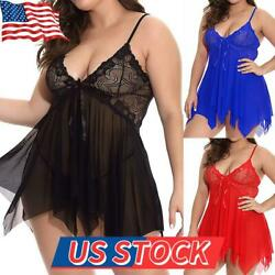 Plus Women Sexy Lingerie Lace Babydoll Dress Sleepwear Sheer Nightwear Bodycon $13.77