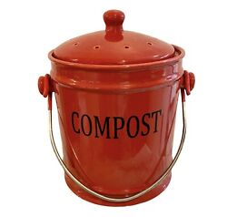 Compost Bin Kitchen Counter Top Food Scrap Container Ceramic Handled Pail $38.00