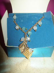 Avon Leaf Anklet with Teal Bead Accents NIB $7.99