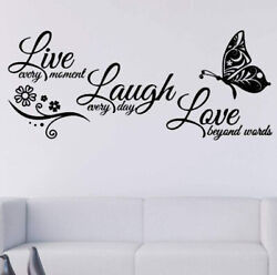 Live Laugh Love Quotes Butterfly Flower Wall Art Stickers Living Room Home Decor $8.69