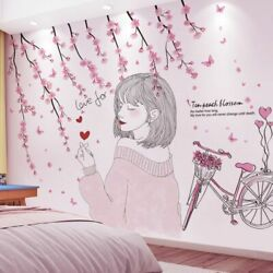 Cartoon Girl Wall Stickers Flowers Bicycle Mural Decals Kids Rooms Nursery Decor $27.98