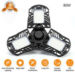 80W 8000LM Bulbs Deformable LED Garage Light Beyond Bright Shop Ceiling Lamp $14.99