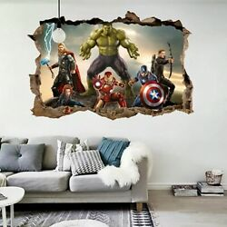 Cartoon Movie Avengers Wall Stickers for Kids Rooms Home 3d Decor Effect $7.67