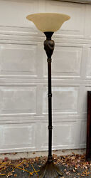 """6 foot 72quot; floor lamp glass shade alablaster Torchiere 17.5"""" Shade $107.10"""