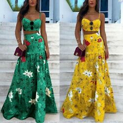 Floral Print 2PCS Set Maxi Women Spaghetti Strap Sexy Long Beach Bohemian Dress $29.99
