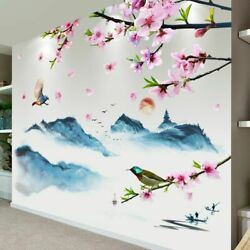 Wall Stickers Flowers Birds Mural Decals Mountain River Living Room Decoration $29.98