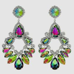Extra Large AB Multi Color Crystal Chandelier Earrings Drag Queen Pageant $13.49