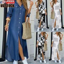 US Womens Holiday Casual Button Down Shirt Dress Ladies Long Sleeve Maxi Dresses $29.49