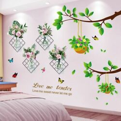 Wall Stickers Flowers Plants Vinyl Tree Branch Decals Bedroom Kitchen Home Decor $27.98