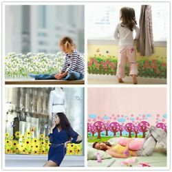 Wall Stickers Flowers Baseboard Waist Line Kids Rooms Living Glass Decoration $23.06