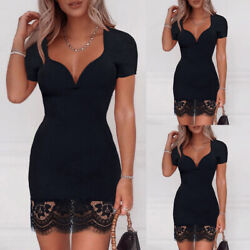 Sexy Women Deep V Neck Lace Mini Dress Short Sleeve Bodycon Party Dress Clubwear $15.48