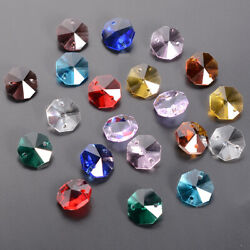 50pcs Crystal Octagon Beads Prisms Beads Drop Chandelier Hanging Parts 14mm $8.54