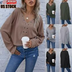 Women Casual Long Sleeve Sweater Ladies Pocket Baggy Jumper Pullover Tops Blouse $10.66