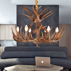 Farmhouse Countryside Resin Antlers LED Chandelier Vintage Ceiling Light Fixture $119.00
